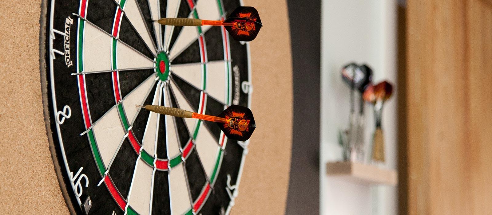 dart board in office lobby